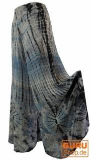 Boho Batik Hosenrock, weite Sommerhose - blaugrau