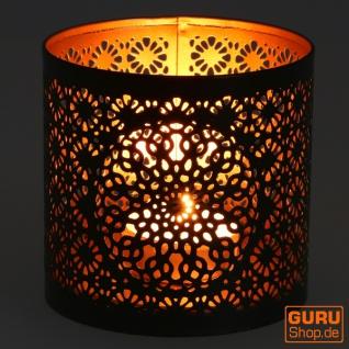 Filigranes orientalisches Metall Windlicht, Teelicht Leuchte mit fein gefrästem Design - Motiv 2 - Vorschau 2
