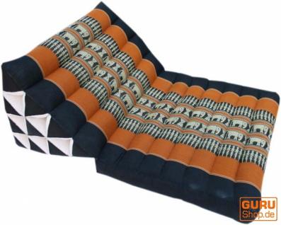 Thaikissen, Dreieckskissen, Kapok, Tagesbett mit 1 Auflage - schwarz/orange - Vorschau 3