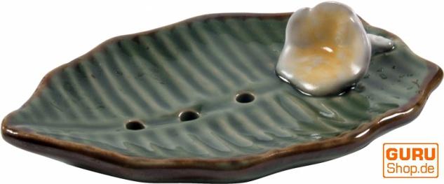 Exotische Keramik Seifenschale - Blatt/grün