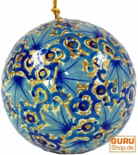 Upcyceling Weihnachtskugel aus Pappmachee, Handbemalter Christbaumschmuck, Kaschmirkugeln - Muster 17