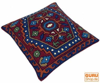 Kelim Kissenhülle `Kaschmir`, bestickter Kissenbezug, Dekokissen aus Wolle - Muster 15