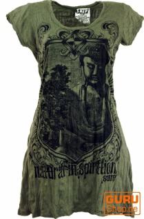 Sure Long Shirt, Minikleid Bodhi Baum Buddha - olive