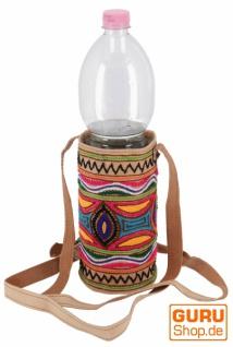 Flaschentasche, bestickte WasserflaschenTasche, Getränkehalter aus Kamelleder