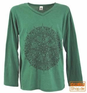 Langarmshirt Mandala, Goa Shirt - smaragdgrün