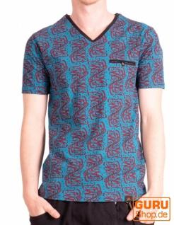 T-Shirt aus Bio-Baumwolle / Chapati Design - turq wave