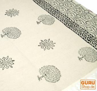 Hangewebter Blockdruck Teppich aus natur Baumwolle mit traditionellem Design - weiß/schwarz Muster 15