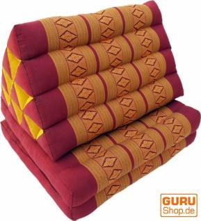 Thaikissen, Dreieckskissen, Kapok, Tagesbett mit 2 Auflagen - rot/gold