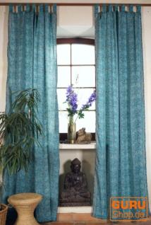 Seidige Boho Vorhänge, 1 Paar Bohemia Gardine aus Sareestoff, Unikat - türkisblau