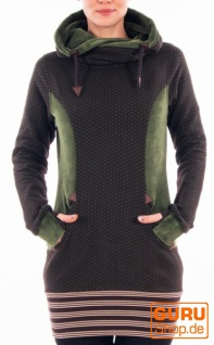 Tunika, langärmlig aus Bio-Baumwolle / Chapati Design - green/choco