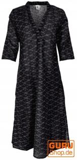 Elegantes Ikat Kleid, langes Tunikakleid, Sommerkleid - schwarz