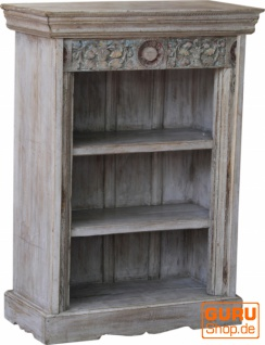 Kleines Rustikales Bücherregal, Massivholz, Indien - Modell 30