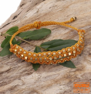 Perlenarmband, Makramee Armband, Herren Armband - gelb
