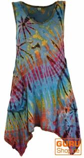 Batikkleid, Minikleid, Boho Pixi Kleid - hellblau