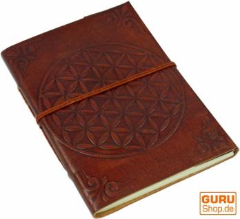 Lederbuch, Notizbuch, Tagebuch, Schreibbuch mit Einband `Blume des Lebens`