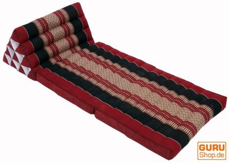 Thaikissen, Dreieckskissen, Kapok, Tagesbett mit 2 Auflagen - dunkelrot/schwarz - Vorschau 2