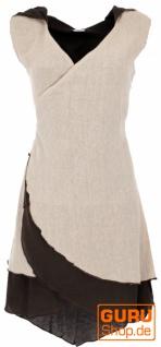 Wickeltunika, Elfentunika mit Zipfelkapuze MA 11 - leinenfarben
