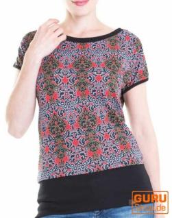 Shirt aus Bio-Baumwolle / Chapati Design - terracotta multi