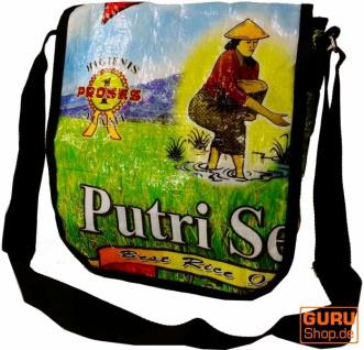 Upcycling Tasche, Schultertasche aus Recycelten Reissack