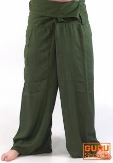 Thai Fischerhose aus Viskose, leicht fallender Stoff, Wickelhose, Yogahose - L/XL dunkelgrün