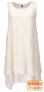 Ethno Midikleid, besticktes Sommerkleid, Lagenkleid - weiß