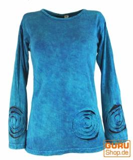 Langarmshirt Spirale - türkisblau
