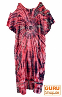 Boho Kaftan, langes Kurzarm Batikkleid, Strandkleid, Sommerkleid in Übergröße - fucsia