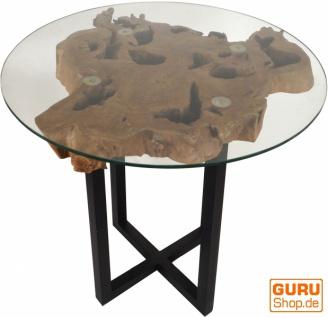 Tisch, Eßtisch, Kaffeetisch, Beistelltisch, Couchtisch mit Baumscheibe und runder Glasplatte - Modell 3