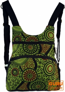 Rucksack, Backpack, Freizeitrucksack, Hippie Rucksack - schwarz/grün