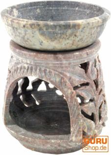 Indische Duftlampe, ätherisches Öl Diffusor, Teelicht Halter für Aromatherapie, Aromalampe aus Speckstein - Rund Blüte 3 - Vorschau 3