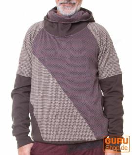 Pullover mit Kapuze aus Bio-Baumwolle / Chapati Design - grey polka