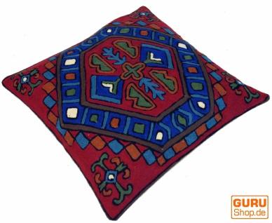 Kelim Kissenhülle `Kaschmir`, bestickter Kissenbezug, Dekokissen aus Wolle - Muster 9