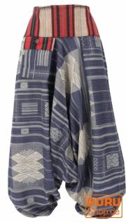 Haremshose mit breitem gewebtem Bund, Ikat Thai Pluderhose - taubenblau