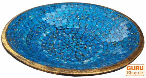 Runde Mosaikschale, Untersetzer, Dekoschale, handgearbeitete Keramik & Glas Obst Schale - Design 19