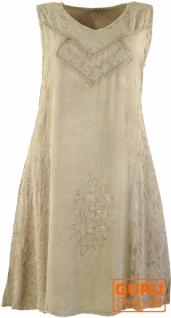 Besticktes Boho Sommerkleid, Midikleid, indisches Hippie Kleid in 7/8 Länge, beige - Design 8
