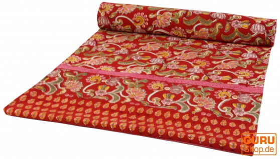 Blockdruck Tagesdecke, Bett & Sofaüberwurf, handgearbeiteter Wandbehang, Wandtuch - rot Blumen