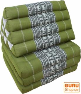 Thaikissen, Dreieckskissen, Kapok, Tagesbett mit 3 Auflagen - grün