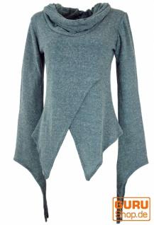 Pixishirt mit Schalkragen Baumwollstrick Pullover - taubenblau