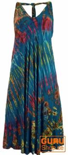 Rückenfreies Batik Midikleid, Neckholder Boho Pixi Kleid - petrol
