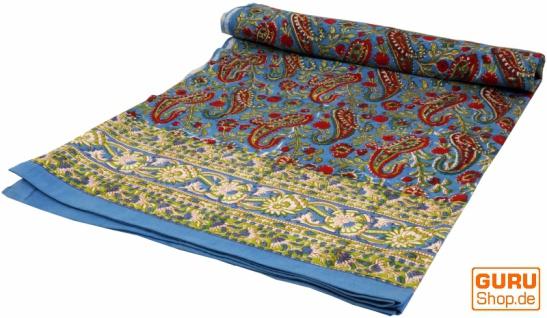 Blockdruck Tagesdecke, Bett & Sofaüberwurf, handgearbeiteter Wandbehang, Wandtuch - blau/weinrot paisley