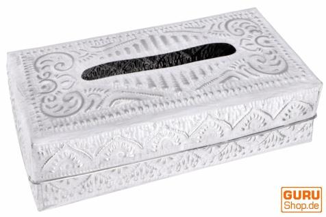 Kosmetiktücher / Servietten Box aus geprägtem Aluminium, Napkin Holder, Taschentuchbox