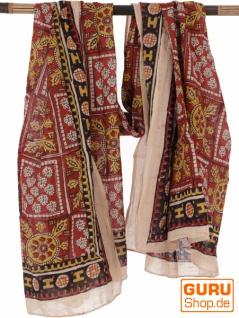 Leichter Pareo, Sarong, handbedrucktes Baumwolltuch - rot Kombination 6