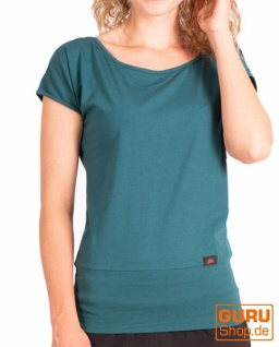 T-Shirt aus Bio-Baumwolle / Chapati Design - peacock blue