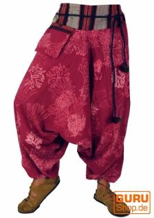 Bedruckte Haremshose mit breitem gewebtem Bund - beere