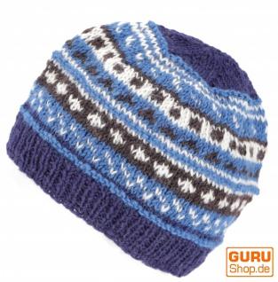 Beanie Mütze, Strickmütze - blau
