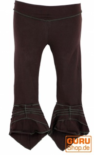 Elfen Leggings, Psytrance Goa Stretch Damenhose - dunkelbraun