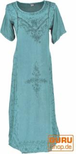 Besticktes Boho Sommerkleid, indisches Hippie Kleid - aqua/Design 11