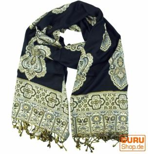 Indischer Schal mit Paislay Muster - schwarz - Vorschau 1