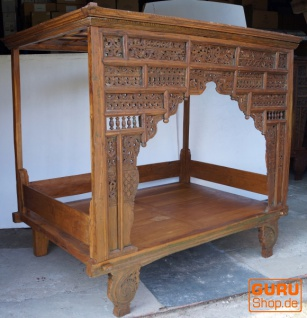 Historisches Himmelbett, Tagesbett aus Teakholz - Modell 1