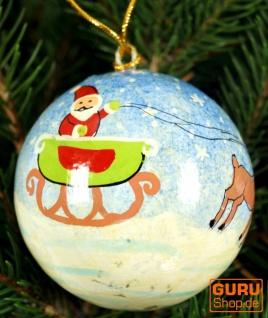Upcyceling Weihnachtskugel aus Pappmachee, Handbemalter Christbaumschmuck, Kaschmirkugeln - Muster 33